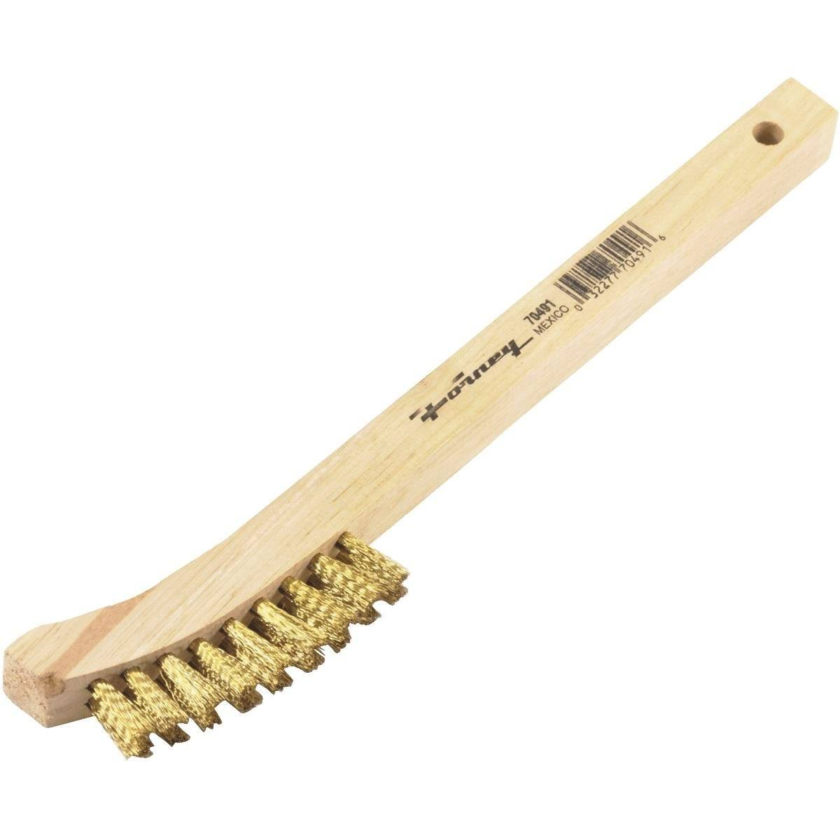Forney Curved Wood Handled Brass Wire Scratch Brush - 8 5/8""
