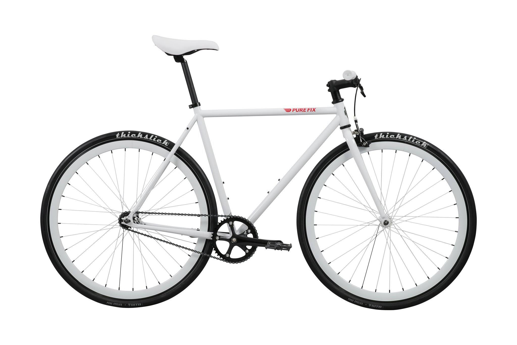 Pure Fix Original Fixed Gear Single Speed Fixie Bike - Romeo White, 54cm