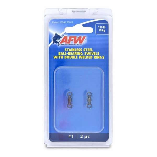 American Fishing Wire AFW Size #1 110lb Stainless Steel Ball Bearing Swivels, 2PC - FWV01B-A