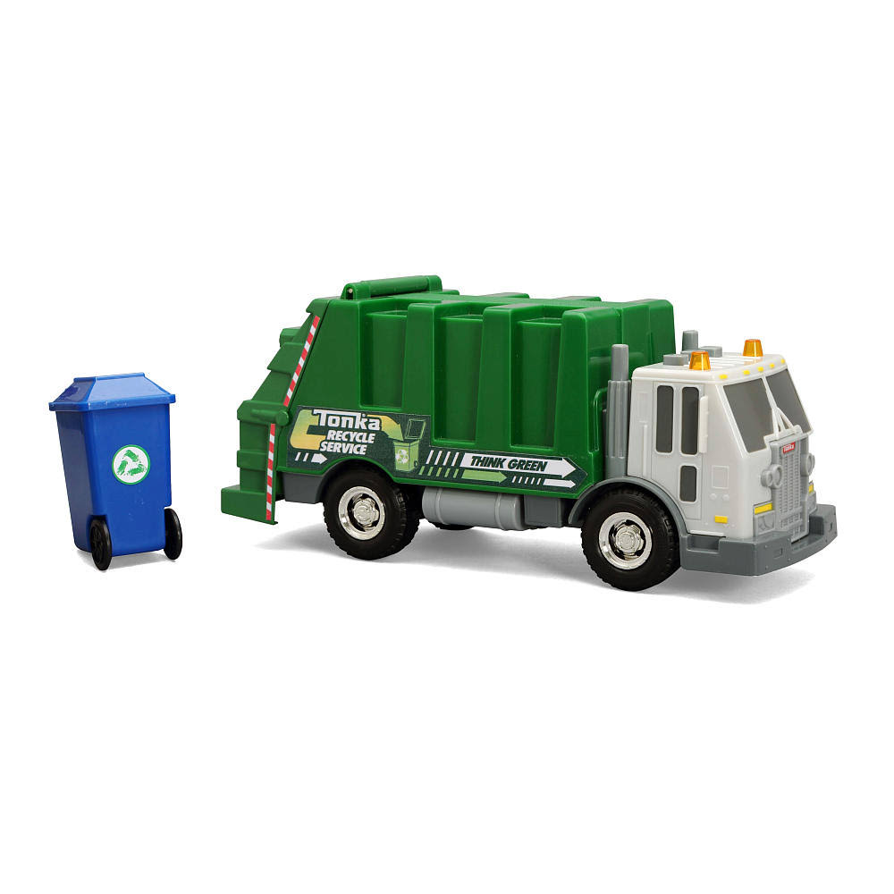 Tonka Rescue Force Garbage Truck W Lights Sound Green Sanitation Dept