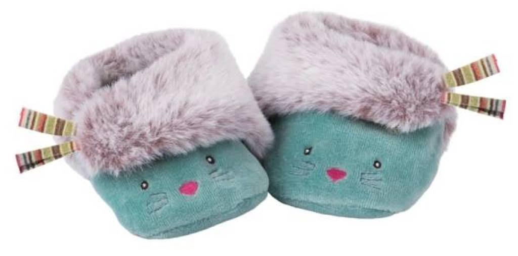 Moulin Roty Les Pachats Blue Cat Slippers