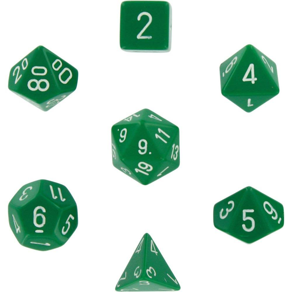 Chessex Polyhedral 7 Dice Set Opaque Green White