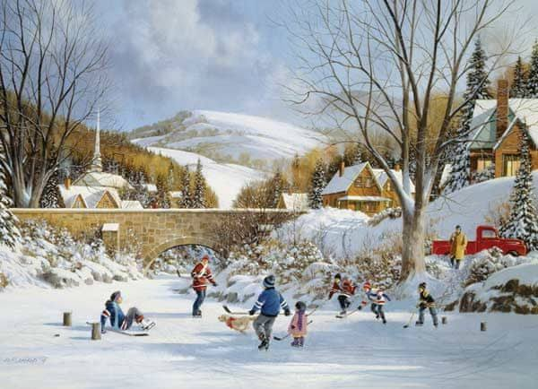 Cobblehill Hockey On Frozen Lake Jigsaw Puzzle - 1000 Pieces