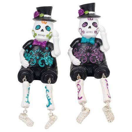 "Delton 2 Assorted Skull Skeleton 6"" Dangle Leg Figurines"