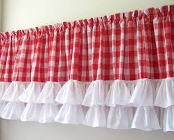 Pink Ruffle Curtain Topper by Bright Red Curtain Valance 10 Red Scalloped Curtain Valance