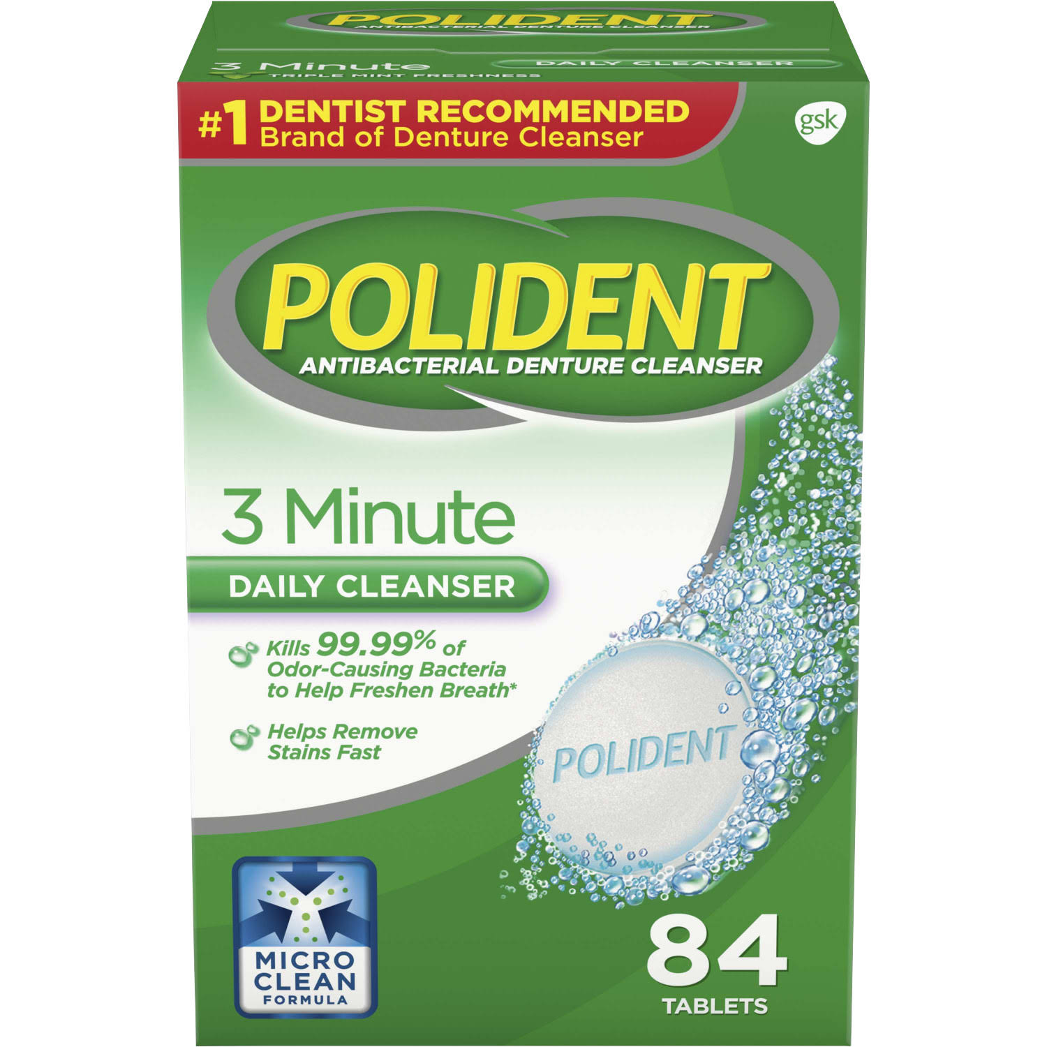 Polident 3 Minute AntiBacterial Denture Cleanser Tablets - Triple Mint, 84 Tablets