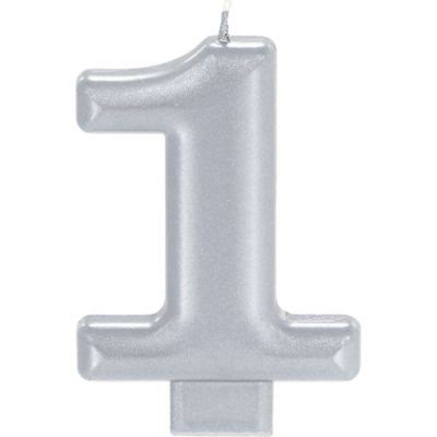 Amscan Candle Metallic Numeral #1 Silver