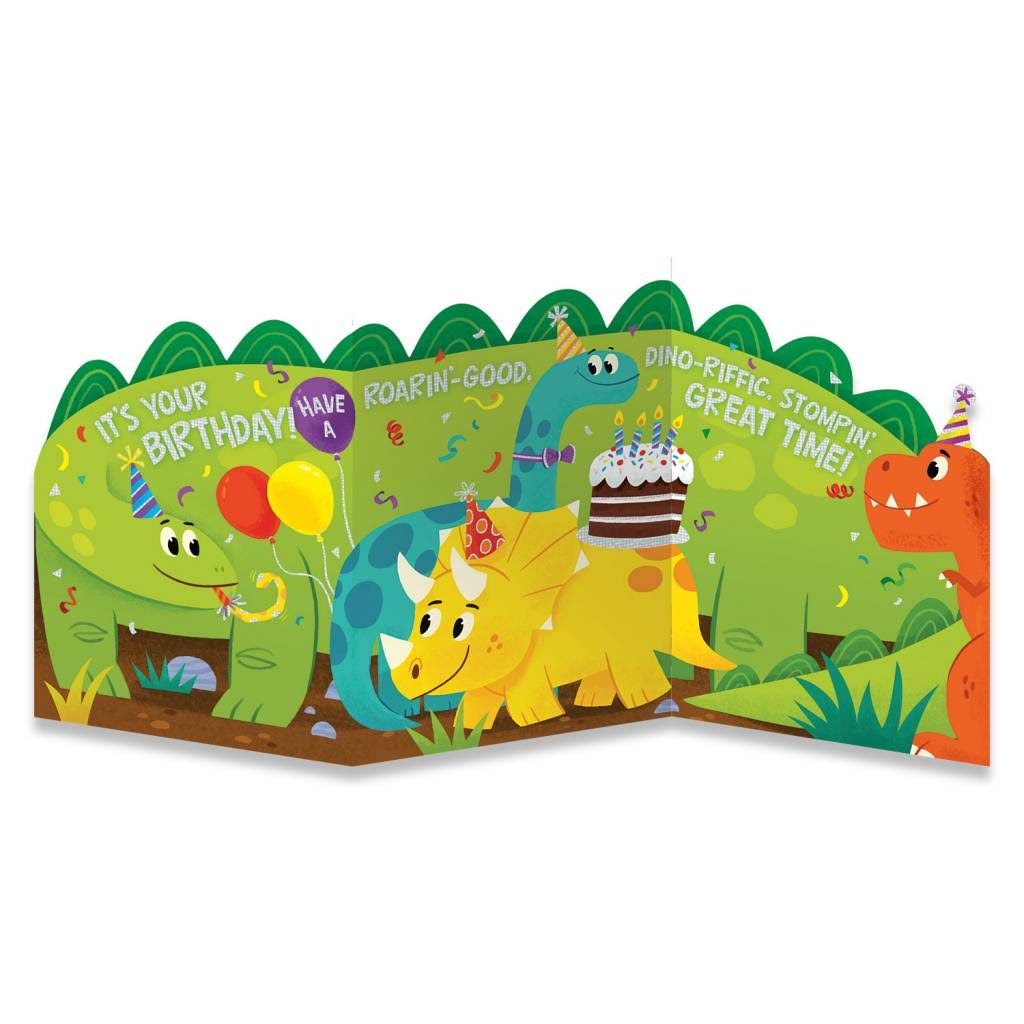Peaceable Kingdom Birthday Cards - Dino Tri-Fold Card