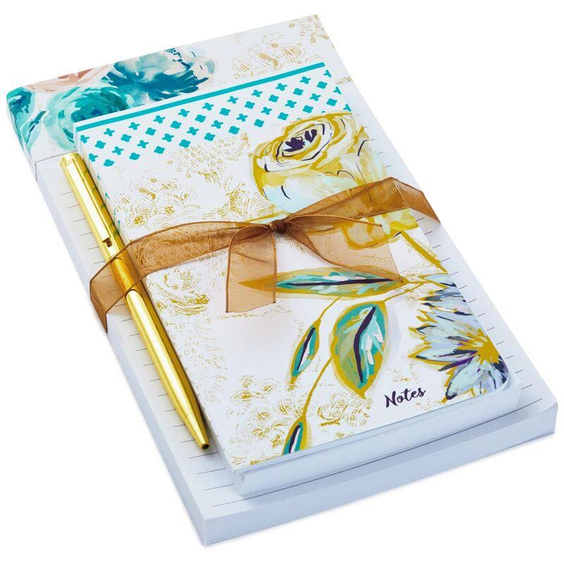Patina Vie Blue Peony and Floral Memo Pads 3-Pack with Pen
