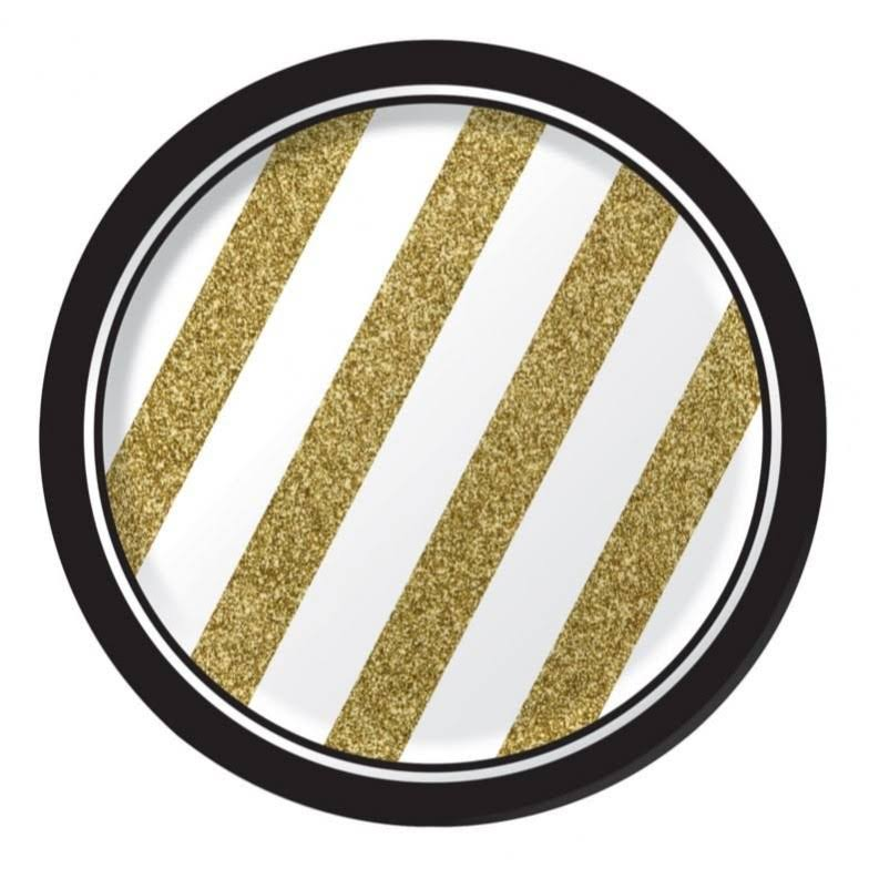 "Creative Converting Sturdy Style Paper Dessert Plates - 7"", Black and Gold, 8ct"