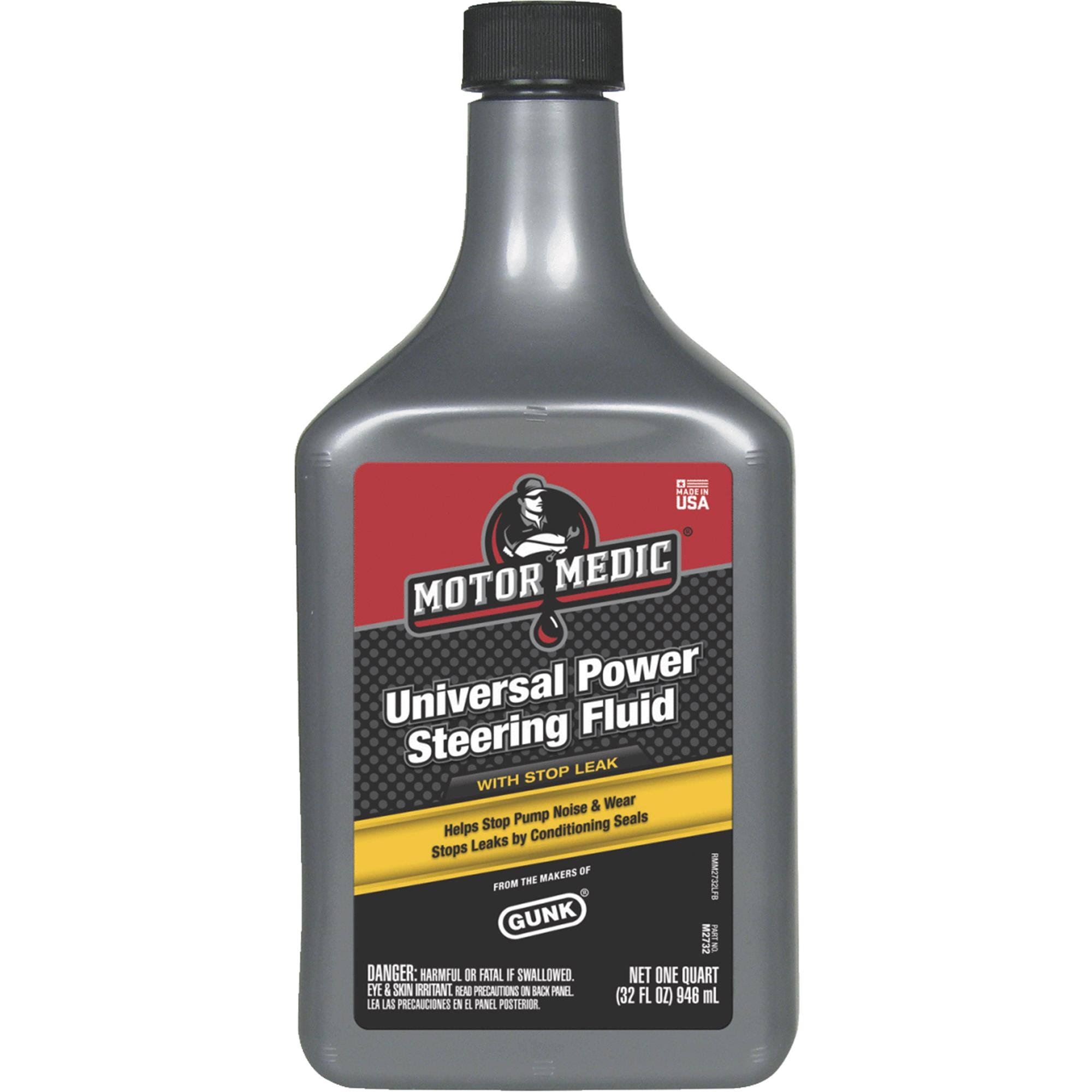 Motor Medic Steering Fluid, Universal Power, With Stop Leak - 1 quart