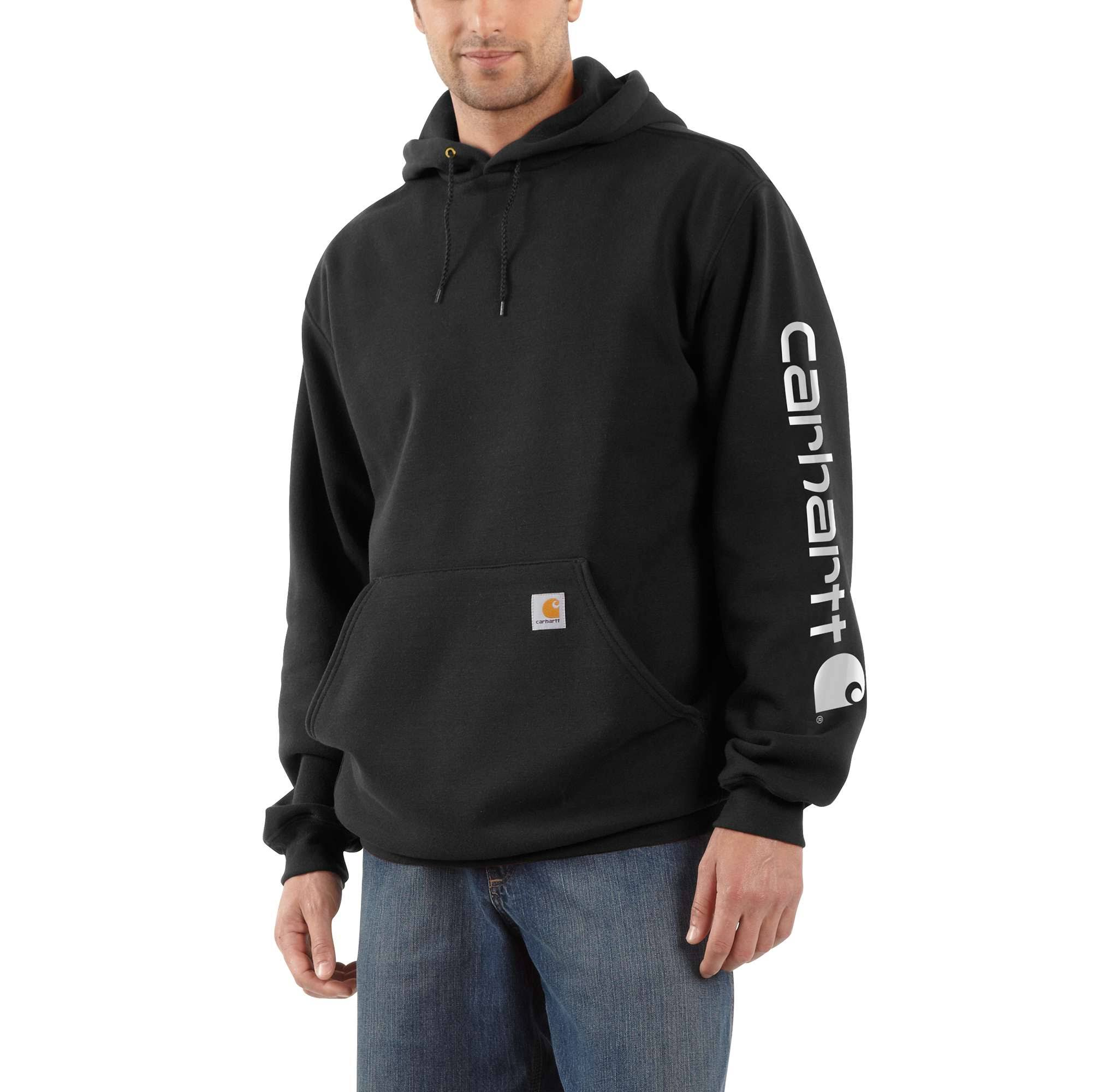 Carhartt Men's Signature Sleeve Logo Midweight Hooded Sweatshirt - Black, Large