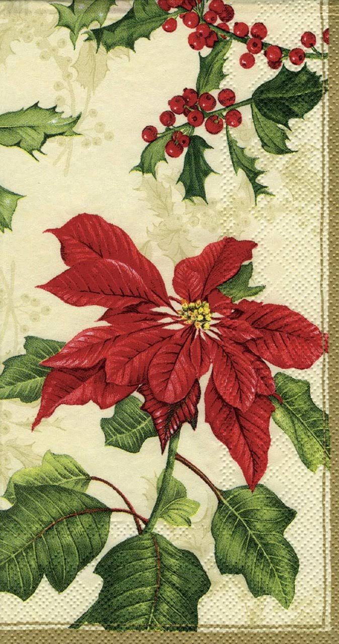 Ideal Home Range 4 Packs Paper Guest Towels Floral Christmas Cream