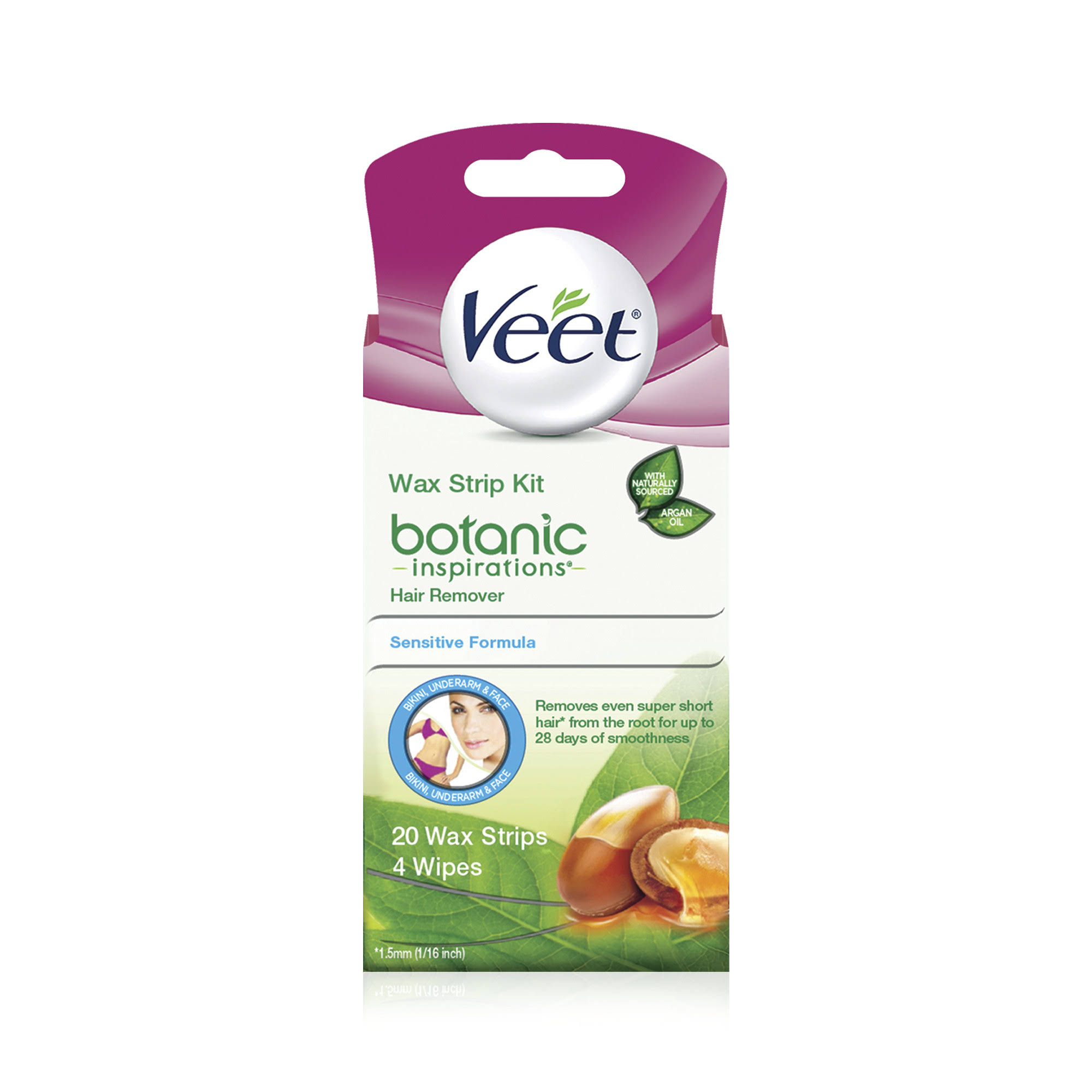 Veet Botanic Inspirations Wax Strip Kit Hair Remover - 20ct