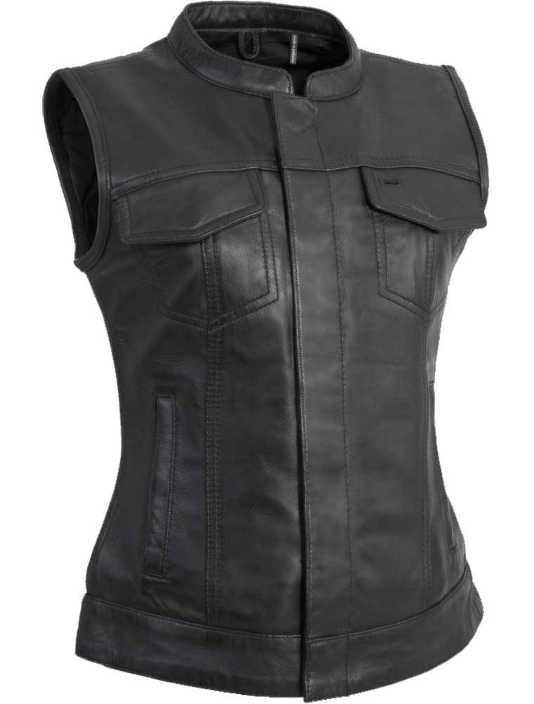 First Manufacturing FIL516SDC-XXL-BLK Ludlow Women's Leather Vest (2X-Large, Black)