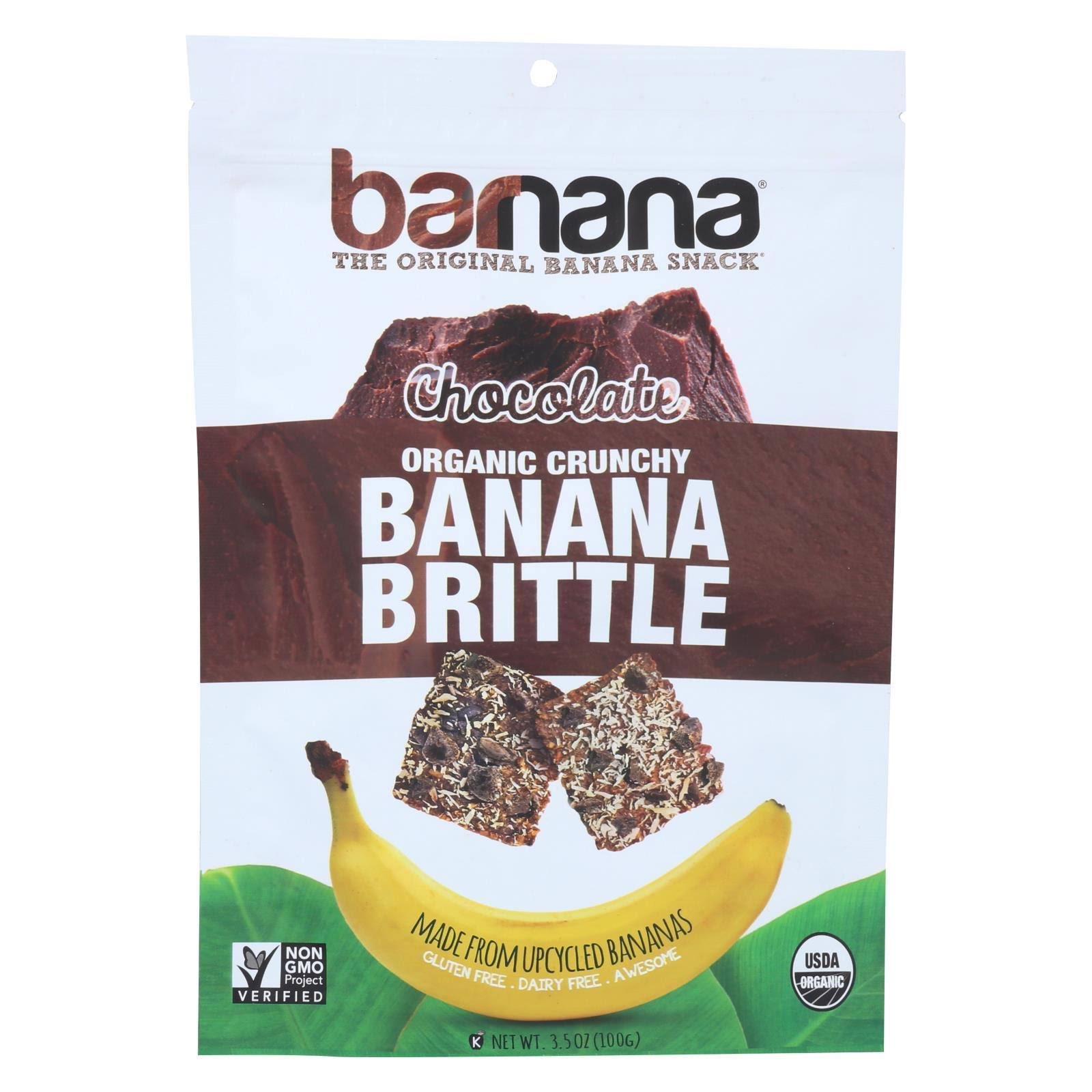 Barnana Banana Brittle, Organic Crunchy, Dark Chocolate - 3.5 oz