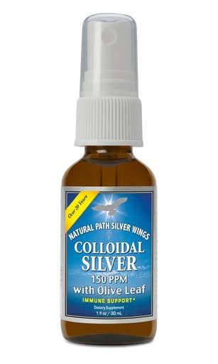 Natural Path Silver Wings Colloidal Silver Spray - with Olive Leaf, 1oz