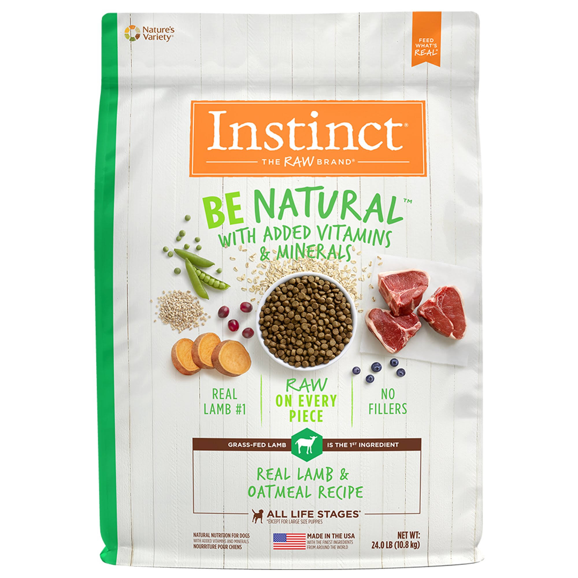 Instinct Be Natural Dog Food - Lamb & Oatmeal, 10.9kg