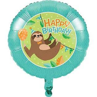 Sloth Party Foil Balloon 18""