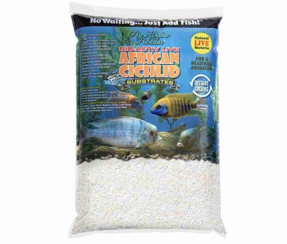 Pure Water African Cichlid Substrates Bio-activ Live Aquarium Sand - 20lb, White