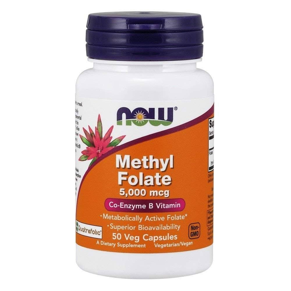 Now Foods Methyl Folate Coenzyme Vitamin Body Healthy Dietary Supplement - 5000mg, 50ct