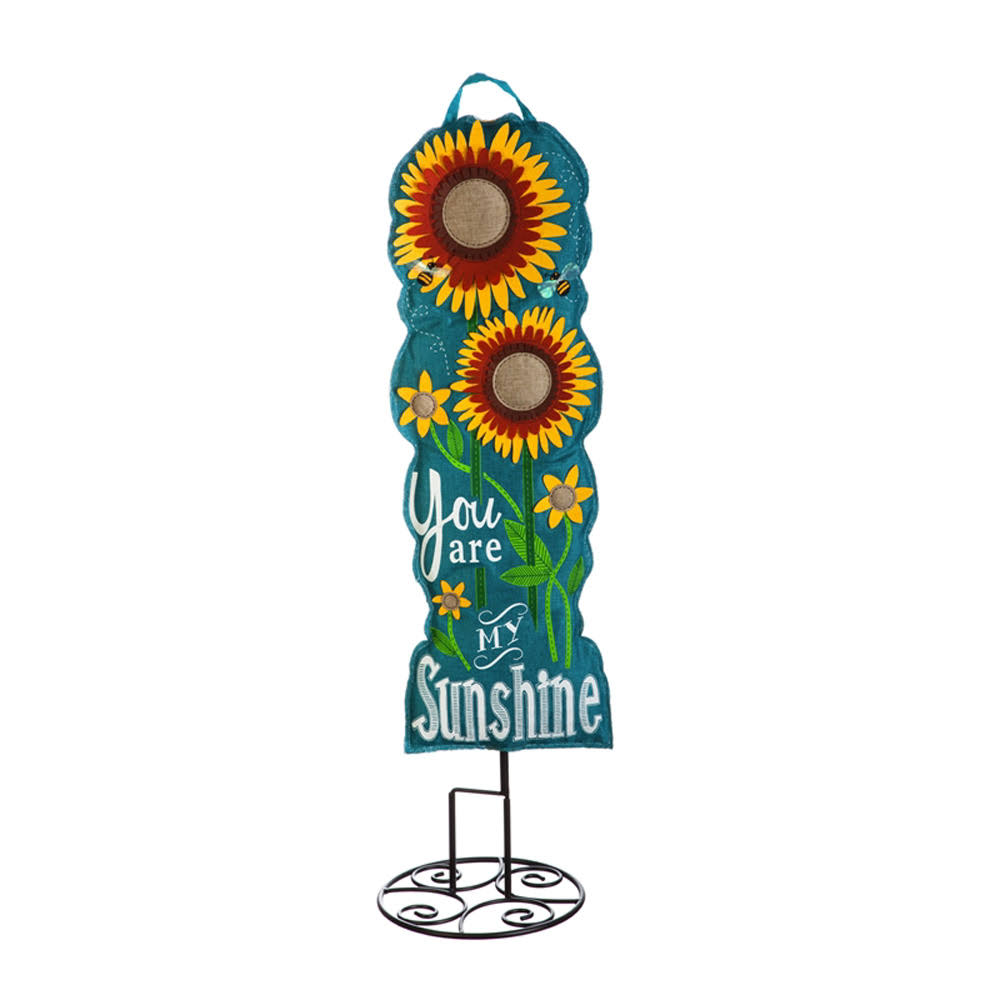 "Evergreen Sunflower Welcome 36"" Statement Stake"