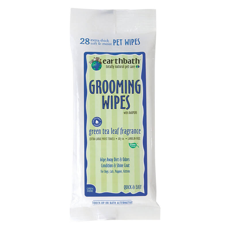 Earth Bath Green Tea Dog Grooming Wipes - Travel Pack, 28 Count