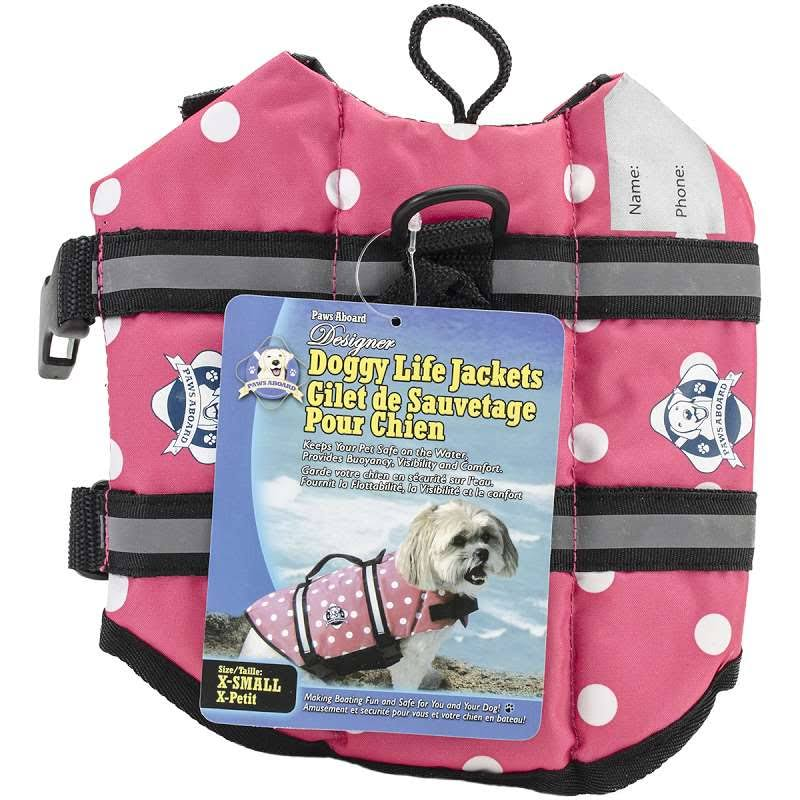 Paws Aboard Doggy Life Jacket - Pink Polka Dot