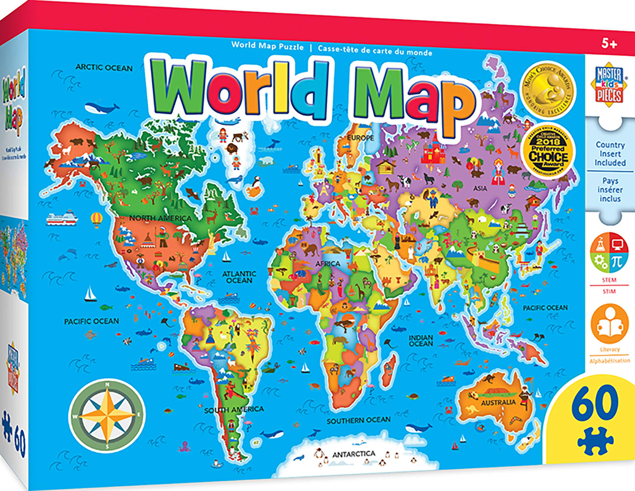 Masterpieces Educational - World Map 60pc Puzzle