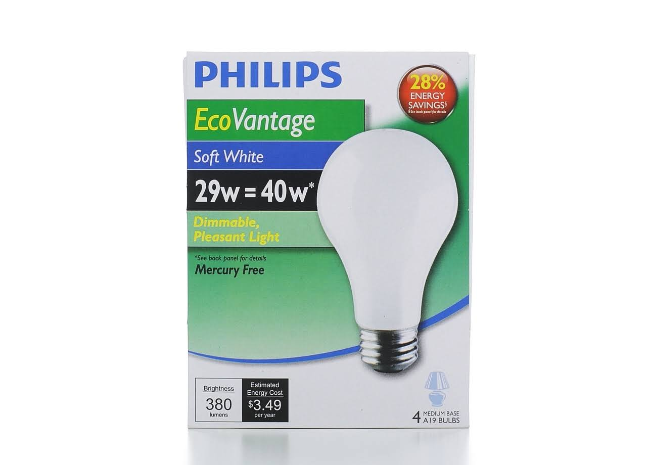 Philips 426007 Dimmable Light Bulb - Soft White, A19, 29w, x4