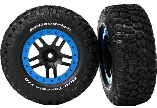 Traxxas Km2 Tire and Split Spoke Wheel - Blue and Black, 2pk