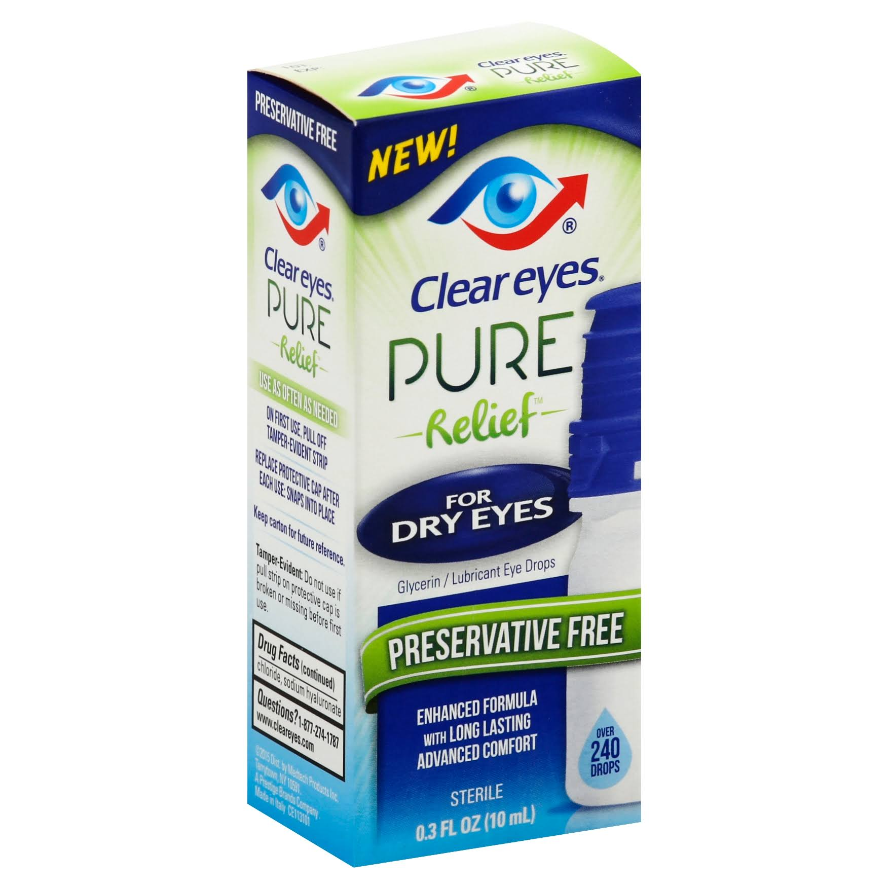 Clear Eyes Pure Relief Glycerin Lubricant Eye Drops - 10ml