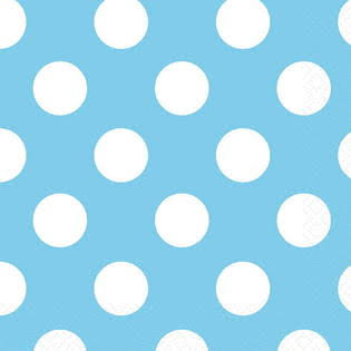 "Luncheon Paper Napkins - 6.5"", Baby Blue, Polka Dot, Pack of 16"