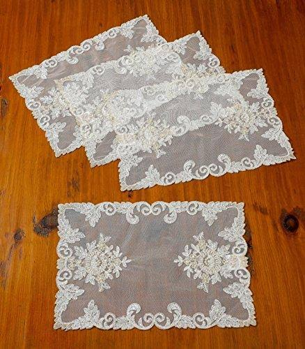 Violet Linen Orchid Decorative Embroidered Lace Placemat, Set of 4, 12 x 18, Ivory