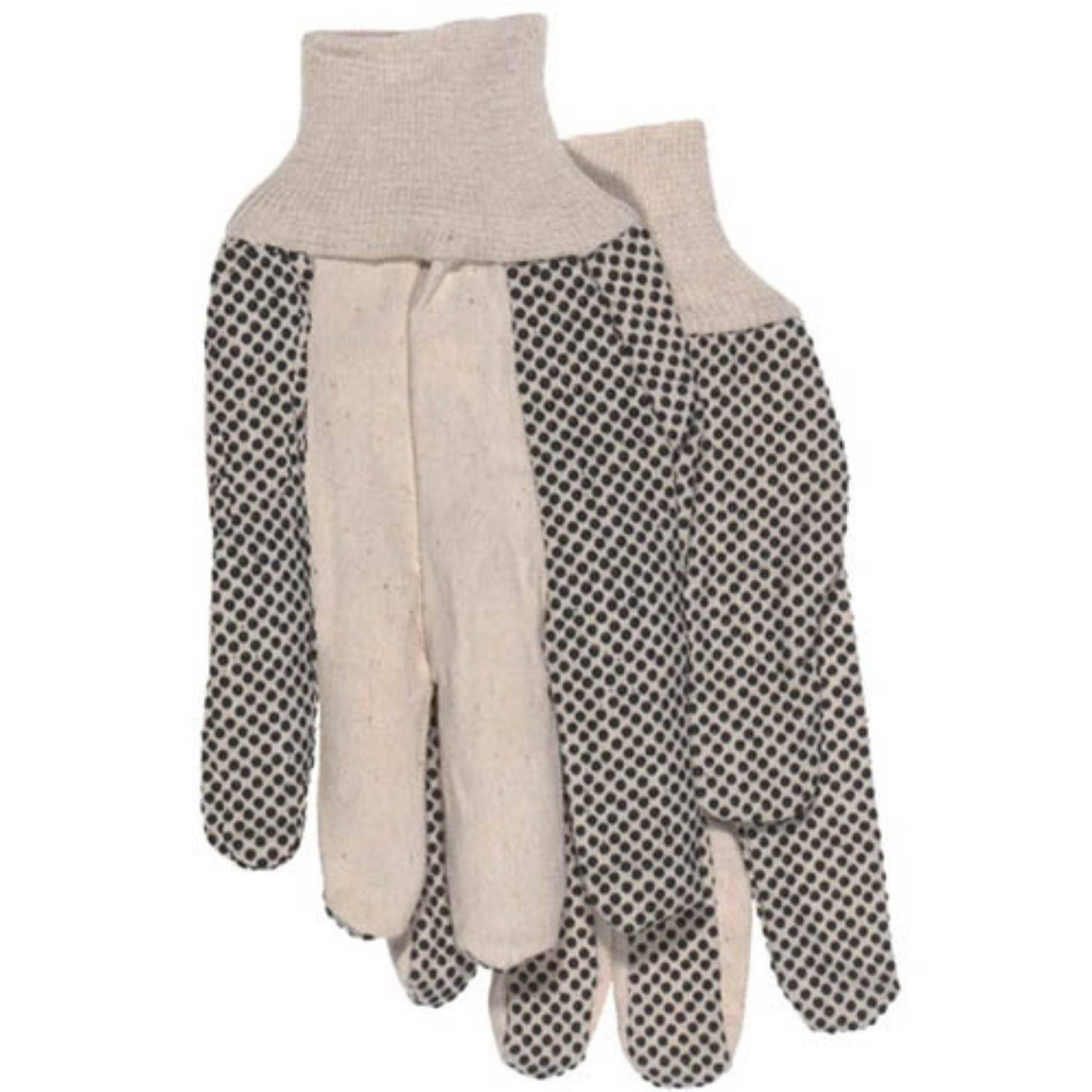 Boss 4011 Plastic Dot Work Gloves - Large, Cotton Blend