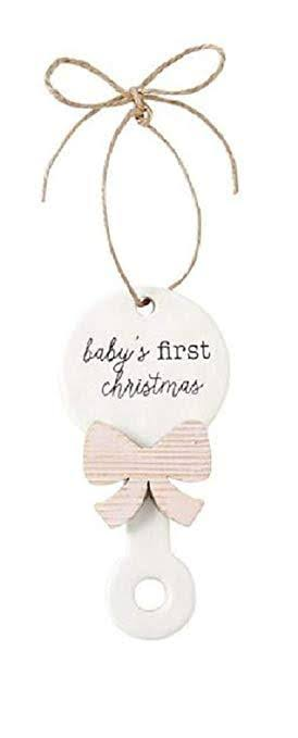 Mud Pie Unisex Baby's First Christmas Rattle Ornament Pink One Size