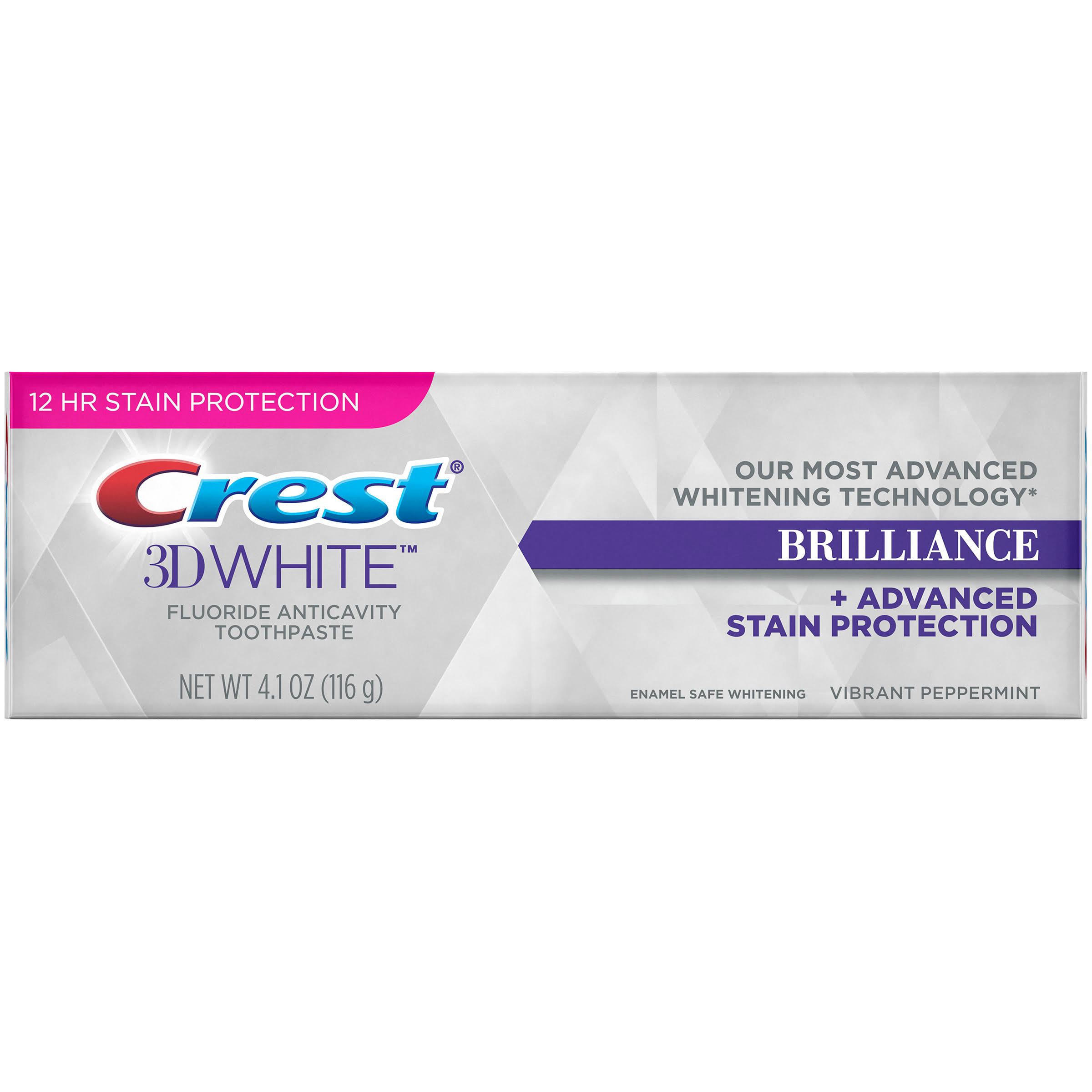 Crest 3D White Brilliance Vibrant Peppermint Fluoride Anticavity Toothpaste - 4.1 oz