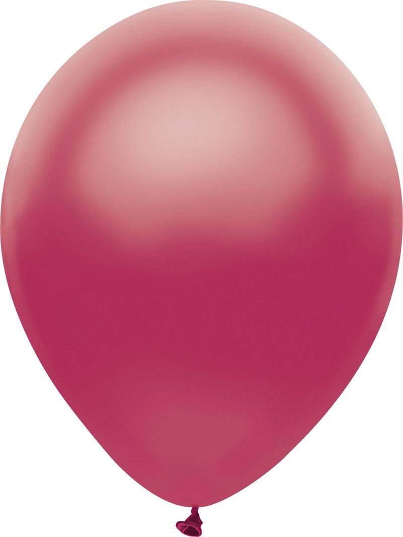 "PartyMate 12"" Round Solid Color Latex Balloons, 10-Count, Raspberry Satin"