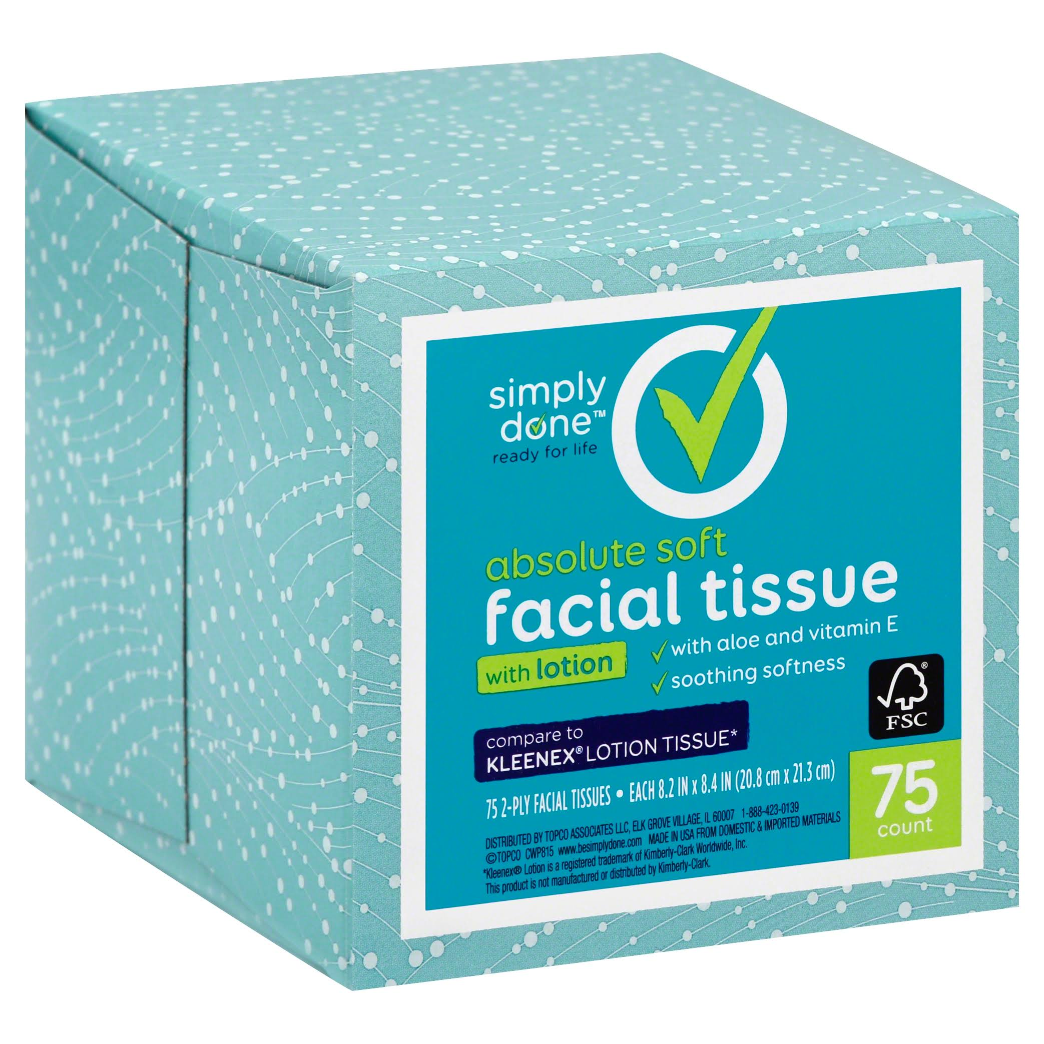 Simply Done Facial Tissue Cube - with Lotion, 75ct