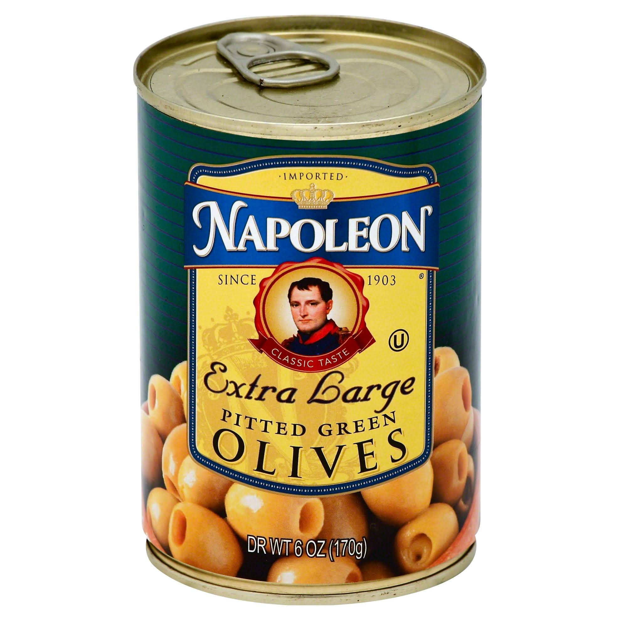 Napoleon Extra Large Pitted Green Olives - 6 oz