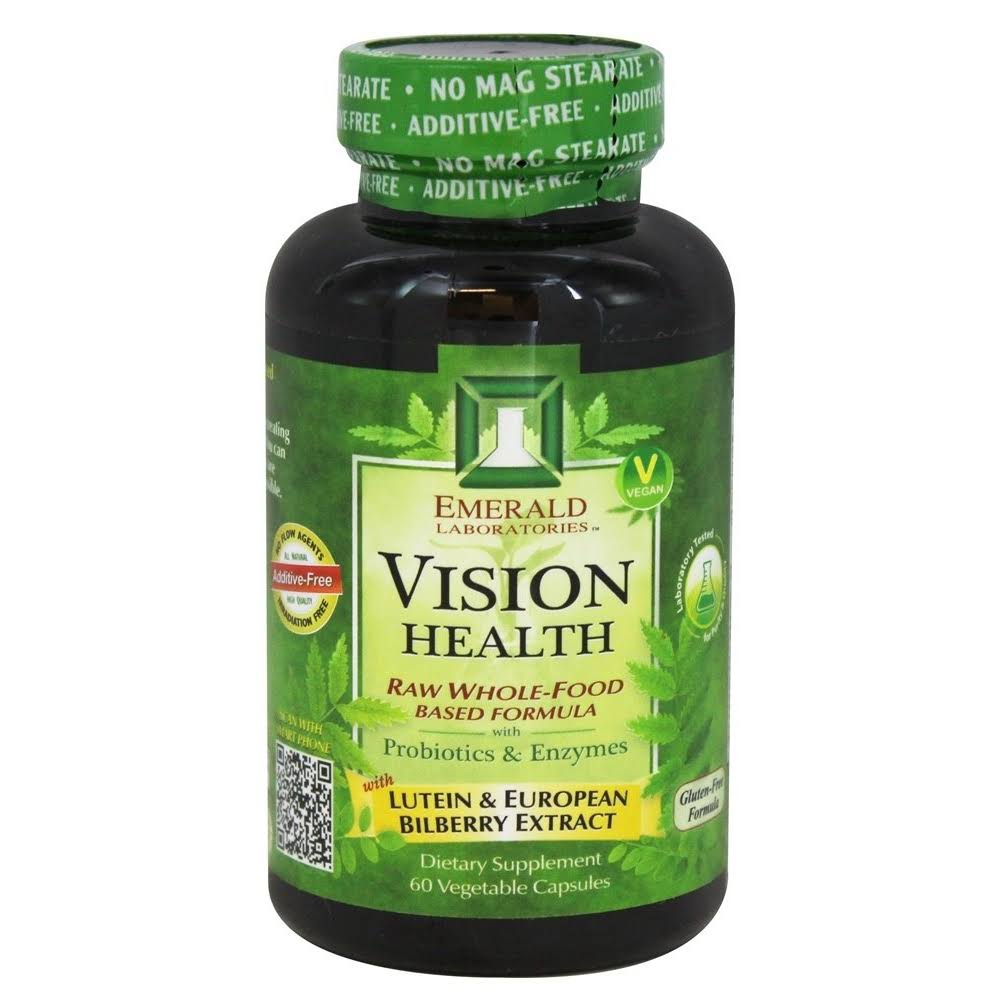 Emerald Laboratories Vision Health Formula Supplement - with Lutein and European Bilberry Extract, 60ct