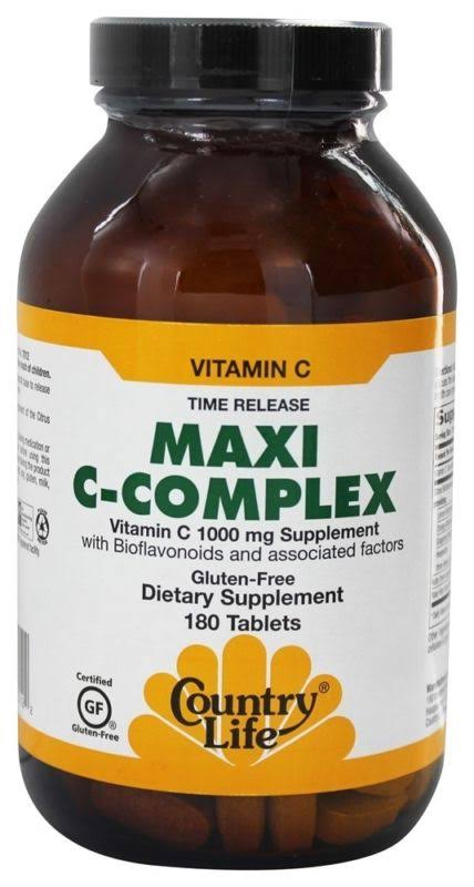 Country Life Maxi C-Complex Vitamin C Dietary Supplement - 180 Tablets, 1000mg