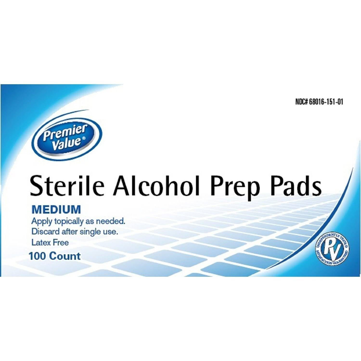Premier Value Alcohol Prep Pads 100ct. - 100ct