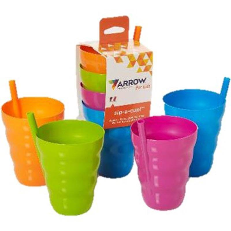 Arrow Home Products Assorted Plastic Sip A Cup - Assorted Colors, 4pk