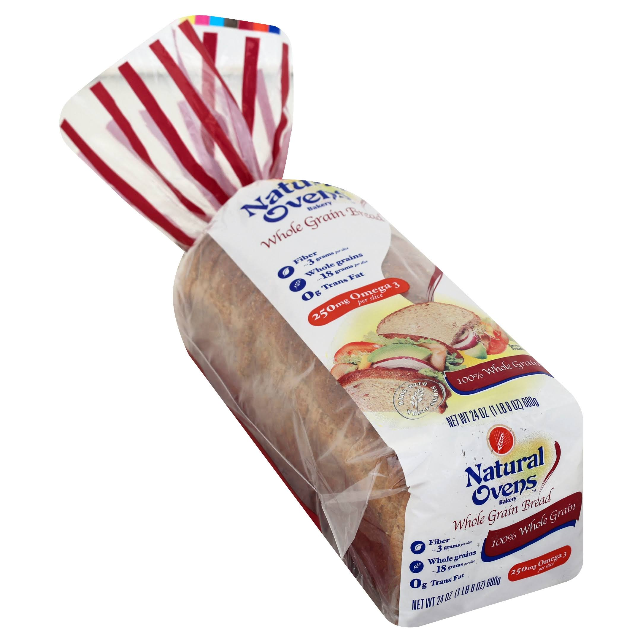 Natural Ovens Bakery Bread, 100% Whole Grain - 24 oz