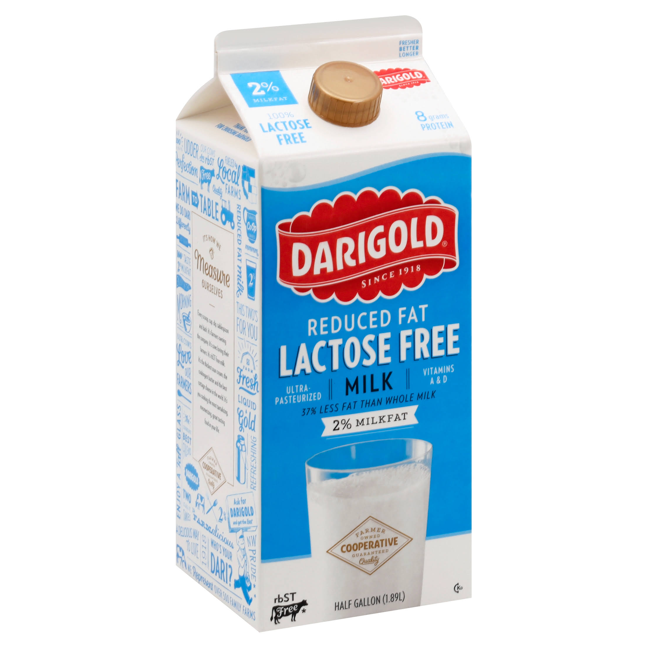 Darigold Milk, Lactose Free, Reduced Fat, 2% Milkfat - half gallon (1.89 l)