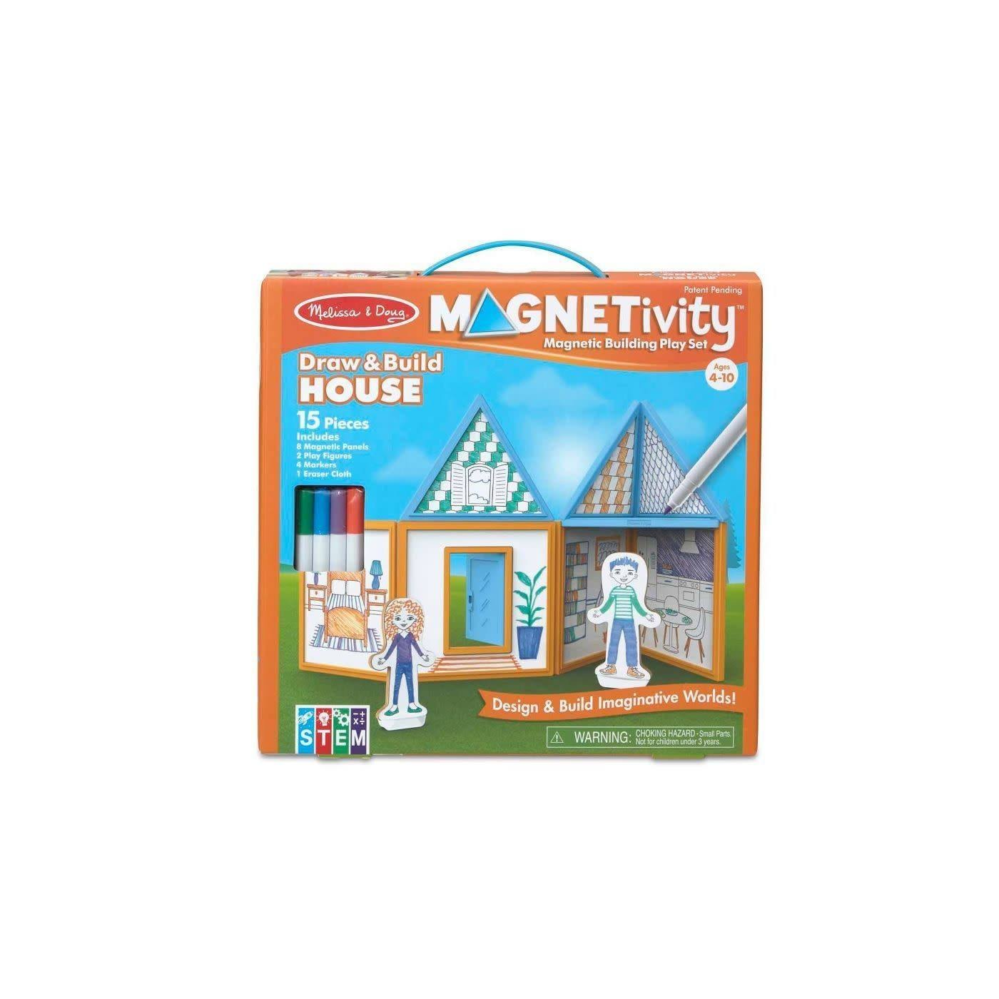 Melissa & Doug Magnetivity Magnetic Building Play Set- Draw & Build House