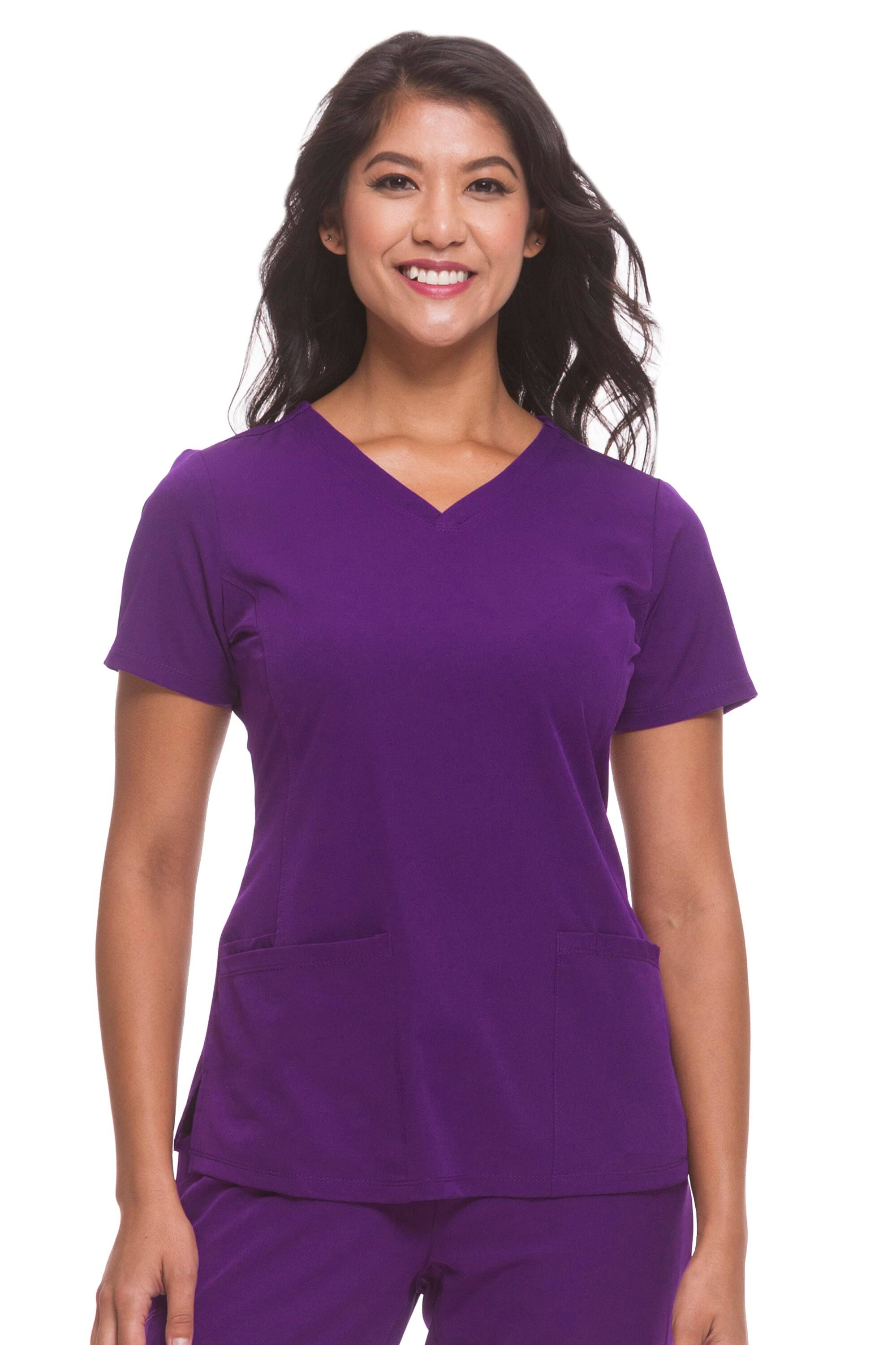 HH Works by Healing Hands Monica V-Neck Scrub Top - M - Eggplant