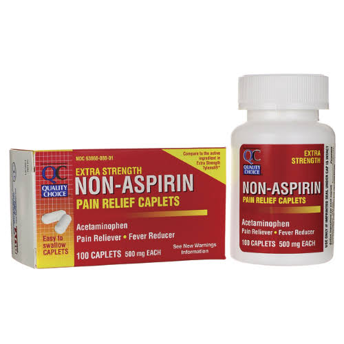 Quality Choice Extra Strength Non-Aspirin Pain Relief - 500mg, 100 Caplets