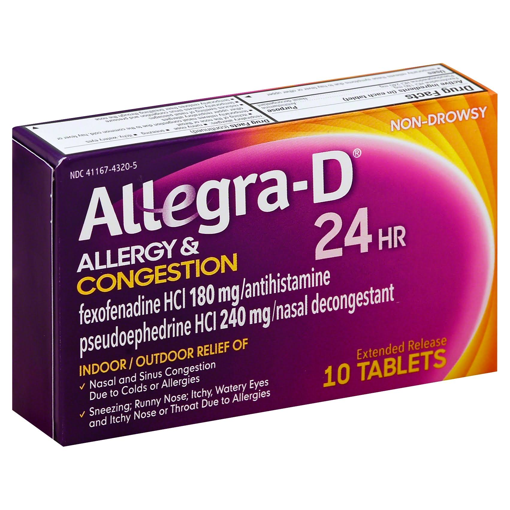 Allegra D Allergy & Congestion, 24 HR, Extended Release Tablets - 10 tablets